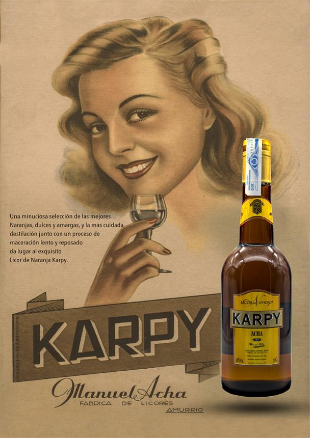 Cartel vintage de Licor Karpy